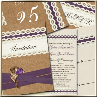 Lace and Burlap wedding Invites