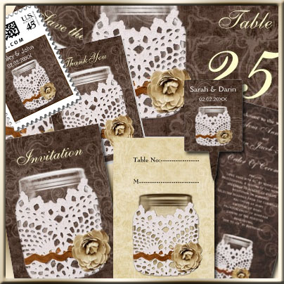 Doily wrap rustic country maosn jar wedding invites