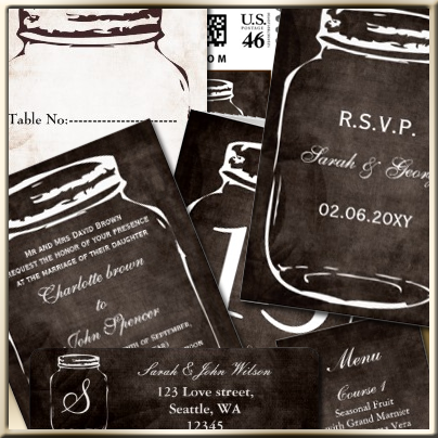 rustic shabby chic mason jar wedding invitations