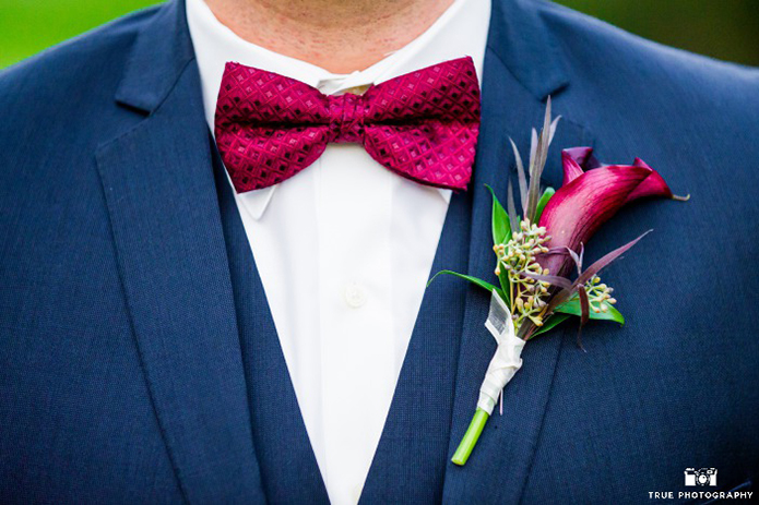 Navy Groom Suit with wine red tie
