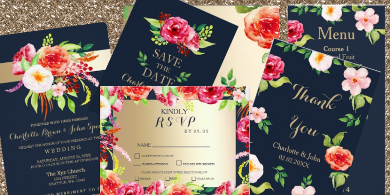 Navy Gold Boho Chic Wedding Invitations