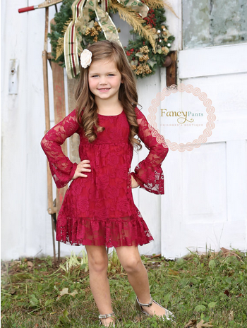 Burgandy Boho Flower Girl Dress