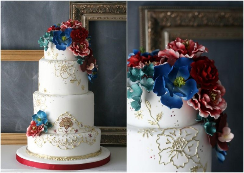 Navy rustic boho chic wedding ideas wed me pretty - Jewel cake decorations ...