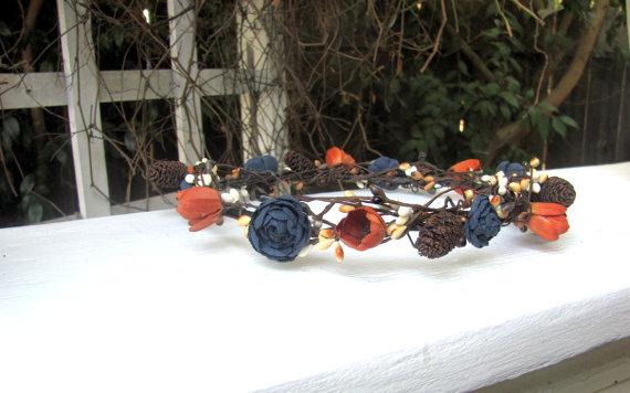 Rustic Navy Blue floral crown
