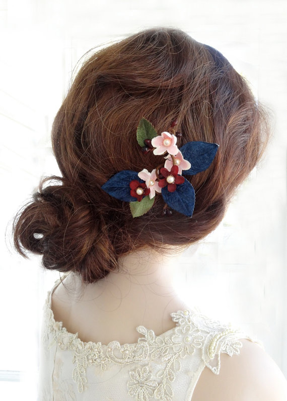 navy blue floral head piece