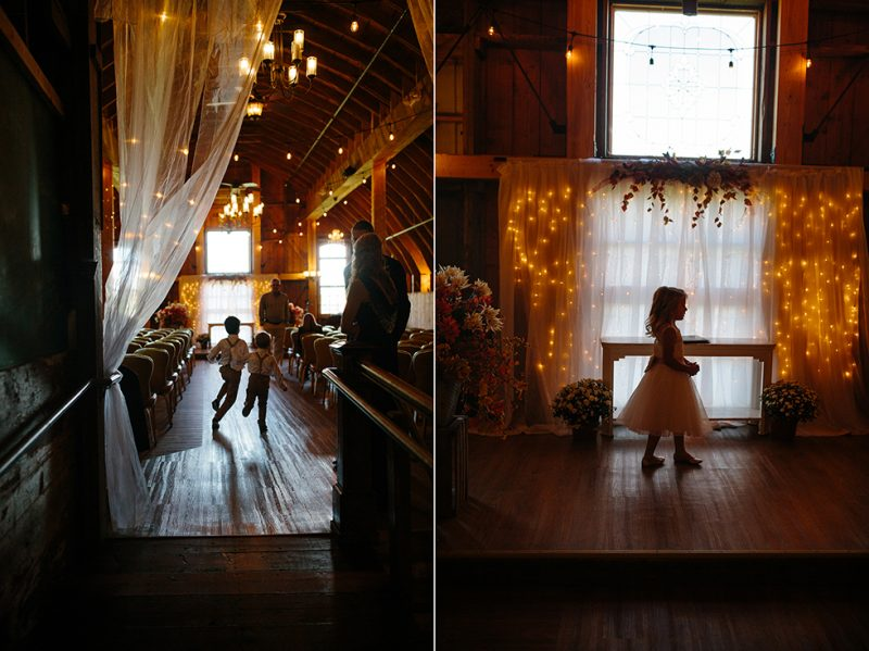 Fairy Lights Backdrop Barn Wedding