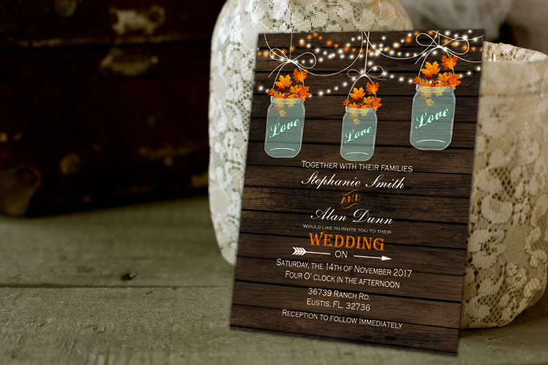 mason jar fall barn wood wedding invitations