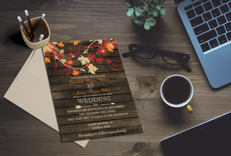 Rustic Barn wood Fall Wedding Invitations