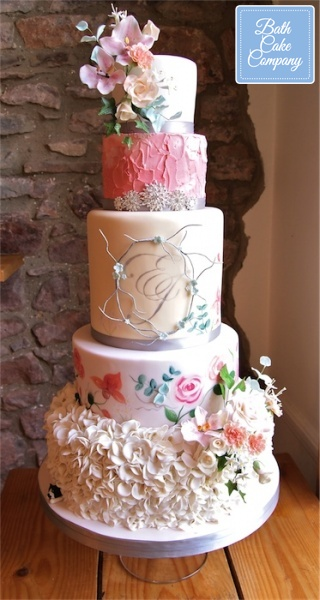 Five-Tier-Floral-Wedding-Cake