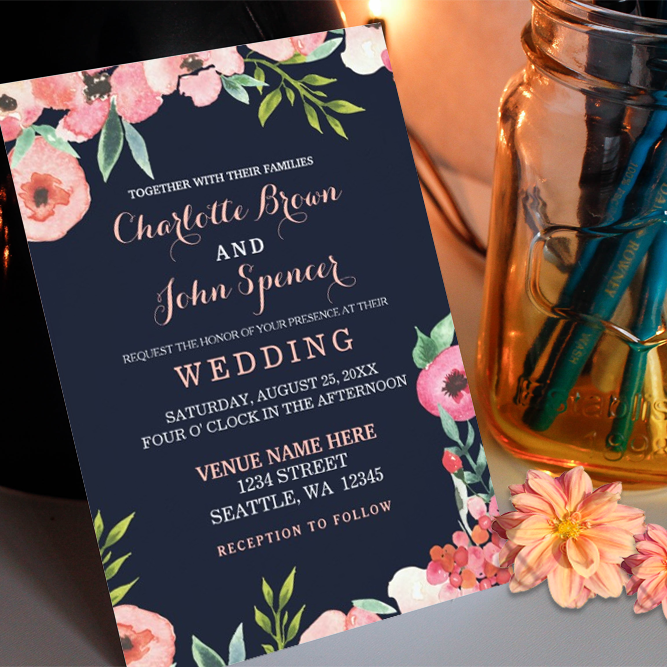 navy and peach wedding invitations