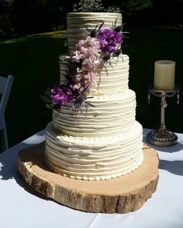 purple spring wedding cake