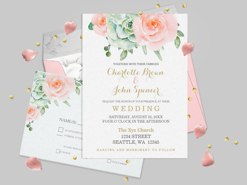 succulent and peach roses wedding invitations
