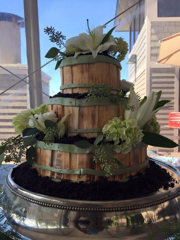 Barrel flower pot cake