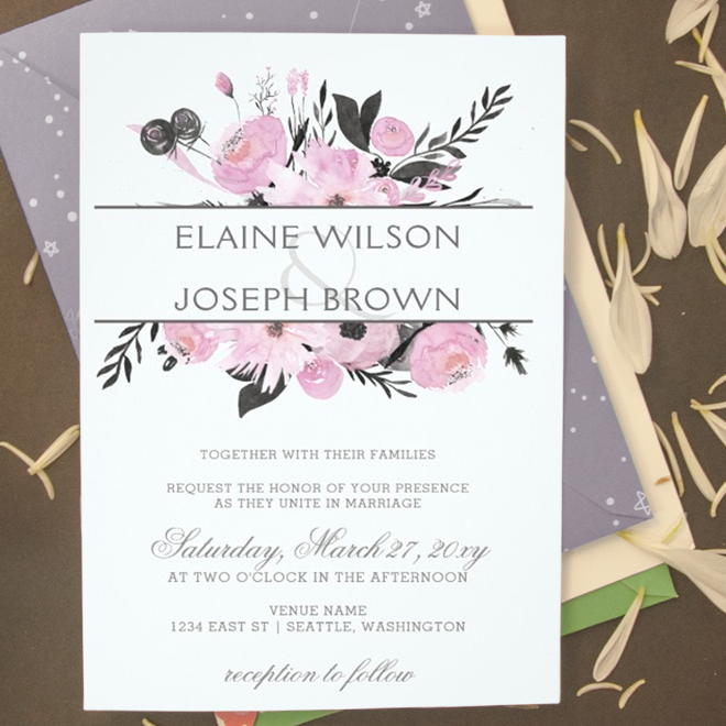 Lilac purple watercolor floral wedding invitations