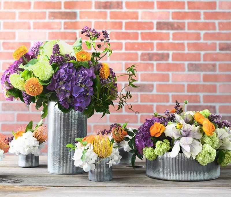 Corrugated Zinc Vases