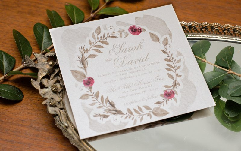 Gold and Burgundy Floral Invitations By weddingpaperlove